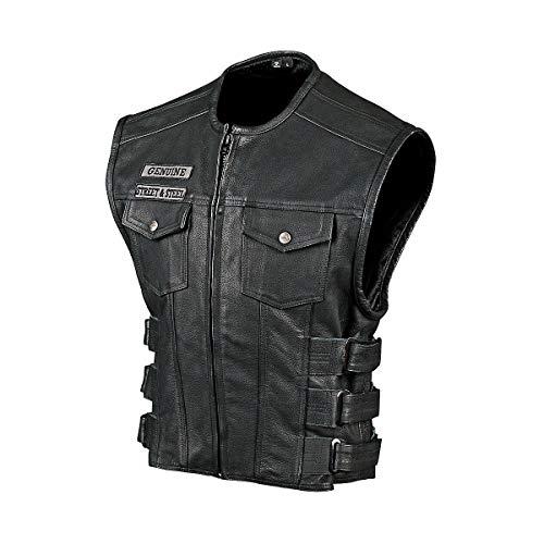 Street & Steel Anarchy Men's Leather Vest, Black, M