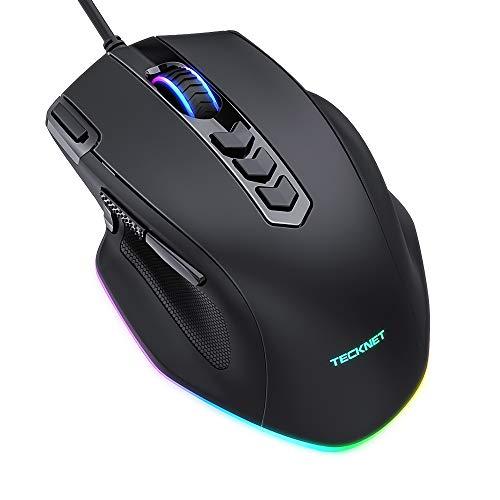 TECKNET Ratón Gaming, Ratón RGB Ergonómico con 11 Botones Programables,8 Modos de Iluminación RGB Personalizable,Ratones USB para PC, Laptop, MacBook