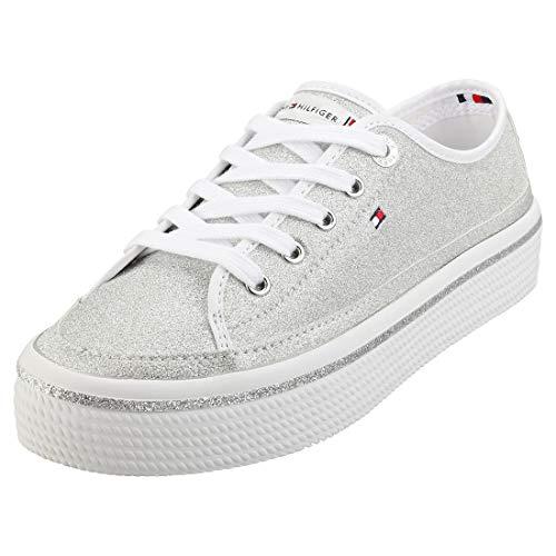 Tommy Hilfiger Damen Sneaker Freizeitschuh Sportschuh Sommerschuhe FW0FW05001 Weiß Silber -> Fehlt 37 EU