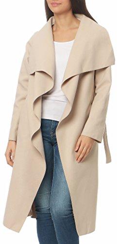 Malito Damen Mantel lang mit Wasserfall-Schnitt | Trenchcoat mit Gürtel | weicher Dufflecoat | Parka - Jacke 3040 (beige)