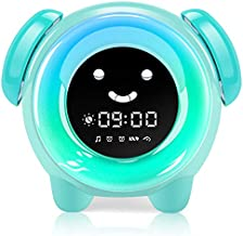 KNGUVTH Kids Alarm Clock, Updated Version Sleep Training Kids Clock with 7 Changing Colors Teach Girls Boys Time to Wake up, 6 Alarm Rings, NAP Timer, Rechargeable Battery USB Charging Clock (Green)