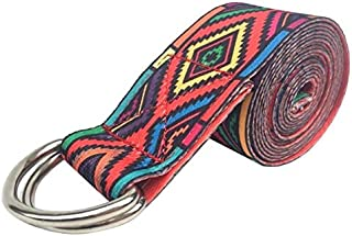 Adjustable Yoga Printed Washable Yoga Stretch Strap D-Ring Gym Fitness Exercise ure Waist Leg Resistance Band : Red