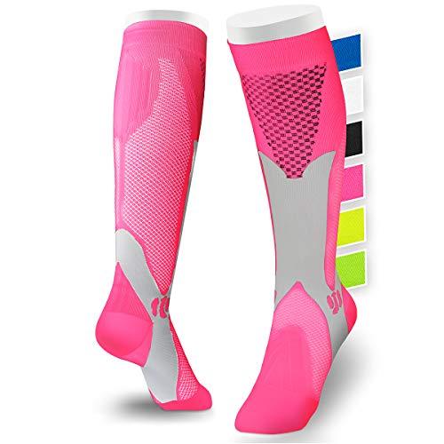 sportanics® Kompressionsstrümpfe für Damen und Herren S-XL (EU 39-44) - Stabilität durch Kompressionssocken für Sport, Ski, Flug, Reise, Thrombosestrümpfe, 15-30 mmHg (L/XL (EU 40-44), Pink)
