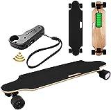Oppikle Électrique Skateboard Longboard Skateboard avec Télécommande sans Fil Bluetooth, Planche Longue 7 Couches de Planche Feuille D'érable Solide, Vitesse Maximale 20 km/h