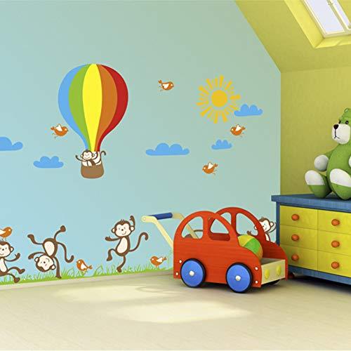 JJZZ Stickers Muraux Amovible Happy Monkey Kindergarten Très Grand Sticker Mural Salon des Enfants Chambre À Coucher 60 * 90Cm Composition