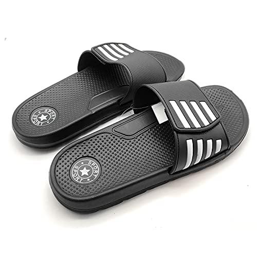 Chanclas de playa para adultos. Chanclas de goma con cierre de velcro, zapatos de playa o piscina, zapatillas de verano (Negro, Talla 44)