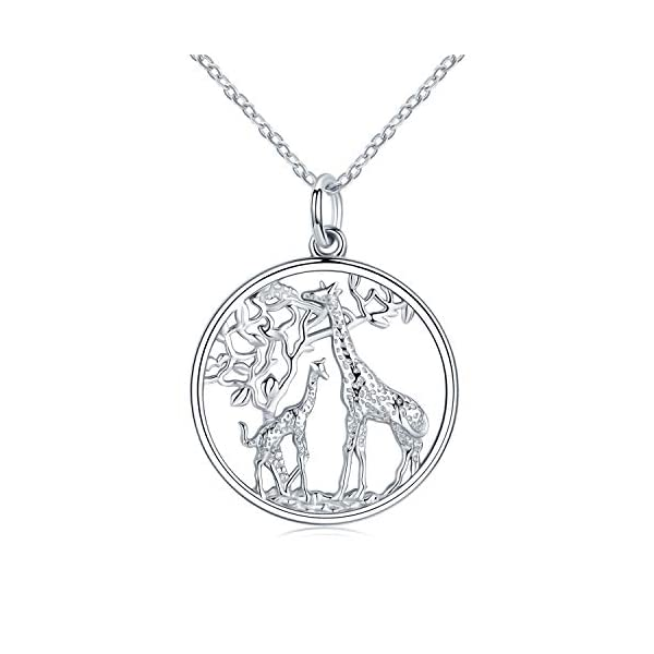 JUSTKIDSTOY Giraffe Jewelry for Women,Elegant Giraffe Necklace 925 Sterling Silver Tree of Life Necklace Forever Love Family Necklace Gift for Women Animal Lover Mother's Day