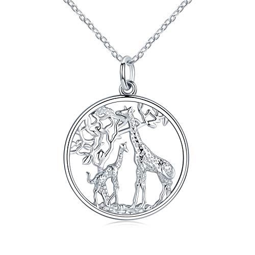 Giraffe Kette Damen Halskette 925 Sterling Silber Tier Anhänger Halskette Frauen Schmuck Geschenke für Mutter Tochter