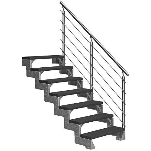 DOLLE Außentreppe Gardentop mit 7 Stufen | Geschosshöhe 126-154 cm │ Trimax® Stufenauflage Anthrazit │ 100 cm | mit Prova-Geländer