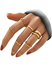 Gold Knuckle Rings Set for Women Teen Girls Snake Chain Stacking Ring Vintage BOHO Midi Rings SIze Mixed