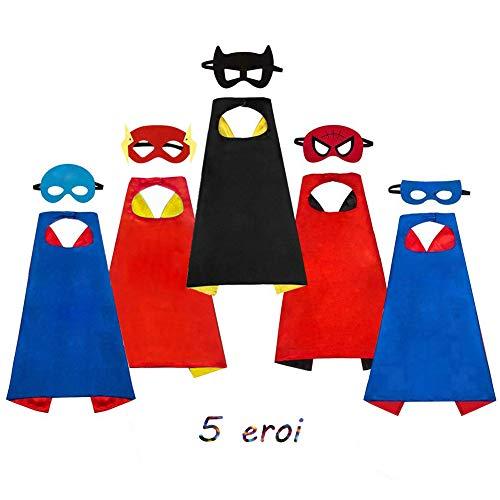 AYUTOY Costumi da Supereroi per Bambini-Regali di compleanno - Costumi Carnevale Mantelli e Maschere Giocattoli per Bambini e Bambine-5 Mantelli e 5 M