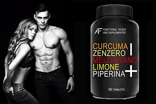 CZMLP+ A.I.F. (90 CPR) CURCUMA-ZENZERO-MELOGRANO-LIMONE-PIPERINA il BRUCIAGRASSI SNELLENTE con i 5 + POTENTI PRINCIPI ATTIVI!!! Prodotto 100% Naturale - ITALIANO