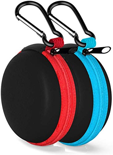 Earbud Case Mini Earphone Case EVA Hard Protective Carrying Case Travel Portable Storage Bag for Earphones Earbuds and Mini Items (Blue+Red)