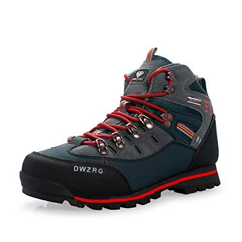 Herren Damen Sportschuhe,Calzado de Running para Hombre,Zapatos de Senderismo Zapatos de Senderismo al Aire Libre de Gran tamaño con caña Alta Zapatos para Correr-Azul Oscuro/Naranja_45/275 mm