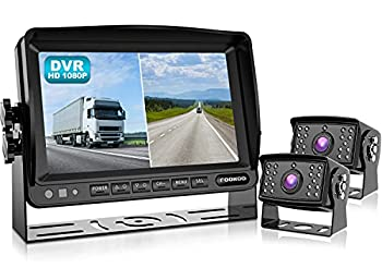 Fookoo Ⅱ HD 1080P Backup Camera System Kit,7   DVR Dual Split Screen Monitor IP69 Waterproof Rear View Camera for Truck/Semi-Trailer/Box Truck/RV Sharp CCD Chip,100% Not Wash Up  FHD2-Wired