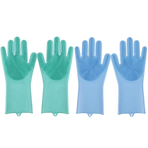 Auidy_6TXD 2 Pair Dishwashing Gloves Reusable Magic Silicone Gloves Cleaning Brush Sponge Gloves for Kitchen Car Bathroom Pet Hair Care