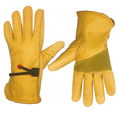 HomeGardenWish Large Cowhide Leather Work Gloves Heavy Duty Work Gloves Durable/Fencing/Construction/Trucking/Plumbing/Wood Work (LARGE)