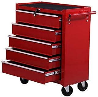 Homcom E2-0004 - Carrito de taller para herramientas, con ruedas, caja de herramientas con 5cajones, 1 unidad, color rojo