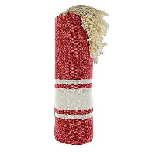 LES POULETTES Baumwolle Handtuch Fouta Hammam oder Strand Rot Farbe Weiß Streifen