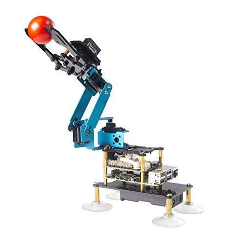 Adeept RaspArm-S 4-DOF Robot Arm 4 Axis Robotic Arm Kit for Raspberry Pi 4 3B 3B+ | Programmable Robot DIY Coding Robot Kit | STEAM Robot Arm Kit with OLED Display | Processing Code and PDF