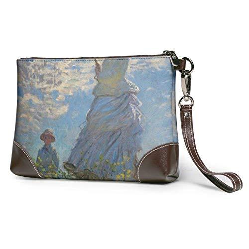 Bolsos de embrague teléfono carteras mujer con una sombrilla y su hijo cuero pequeño bolso de mano