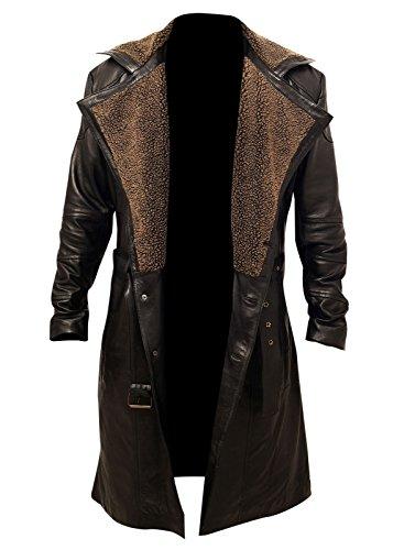 Skyseller Blade Runner 2049 Ryan Gosling (Oficial K) Abrigo de cuero con solapa de piel