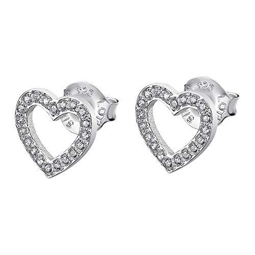 Lotus Pendientes de plata 925 con forma de corazón LP1864-4/1 con circonitas JLP1864-4-1