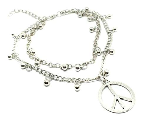 TANAMI Anklets Supplies for CND Ban The Bomb Peace Ankle Bracelet Beaded Anklet Double Chain Foot Jewellery Great for DIY Jewelry Gift for Women Girls