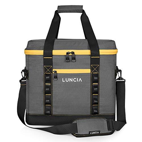 LUNCIA Collapsible Large Cooler Bag, 60-Can Insulated Leakproof Soft Sided Portable Cooler Bag Waterproof for Road Trip, Grocery Shopping, Camping and Picnic