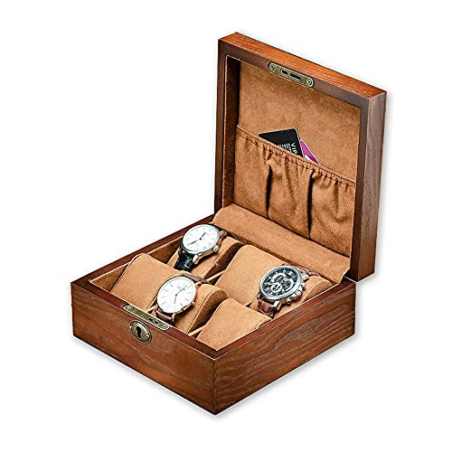 FFAN Caja de Reloj Caja de Almacenamiento de Reloj Caja de joyería de Reloj de Madera Vintage de 6 bits con Cerradura de Metal y baratija de Llave Caja de Regalo para Reloj, joyería y Pulsera (C