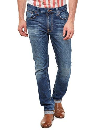 Nudie Jeans Herren Tape Ted Slim Fit Jeans in Grau Worn Indigo - grau - 48 DE/50 DE