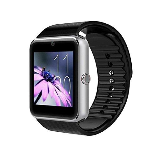 Bluetooth Smartwatch da Polso Intelligente con Telecomando Fotocamera,Lettore Musicale,SIM /TF Card Slot Anti-lost Touch Screen,Contapassi,Notifiche Chiamate SMS,per Smartphone Android GT08(Argento)