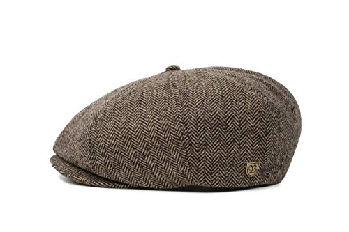 Brixton Men's Brood Newsboy Snap Hat, Brown/Khaki Herringbone, Large
