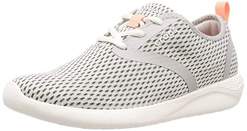 Crocs Women's LiteRide Mesh Lace-Up Sneaker, Pearl White/White, 8 M US