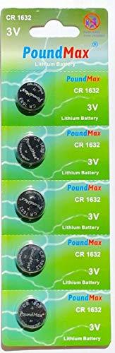 PoundMax 1632 CR1632 Lithium-Batterien, 3 V, 5 Stück