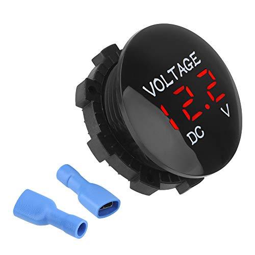 YOUG Mini Digital Voltmeter, Spannungsprüfer, Wasserdicht, für Auto und Motorrad, DC 12V-24V, ABS (Rot)