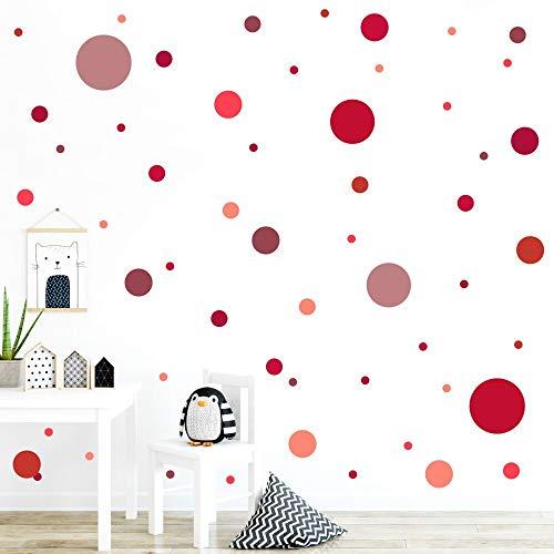 malango® 78 Wandsticker in vielen verschiedenen Farbkombinationen Punkte Kinderzimmer Wandtattoo Kreise selbstklebend rot-altrot-Altrosa-Bordeauxrot
