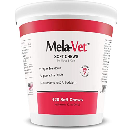 Mela-Vet Melatonin Soft Chews For Dogs And Cats - Veterinarian Approved Anti-shedding Supplements, Natural Neurohormone And Antioxidants - Promote Hair Growth, Improve Sleep Function (120 Count)