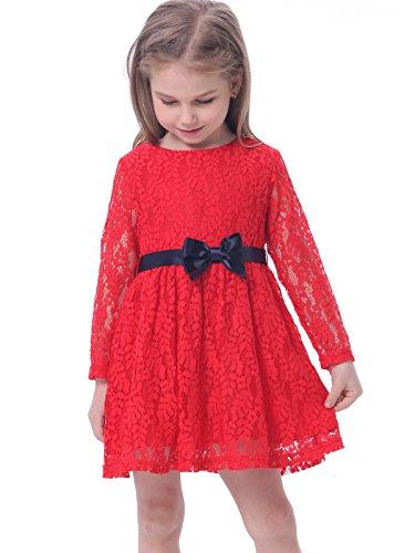 BONNY BILLY Vestiti Bambina Cerimonia Eleganti Pizzo Invernali Manica Lunga con Fiocco 4-5 Anni Rosso