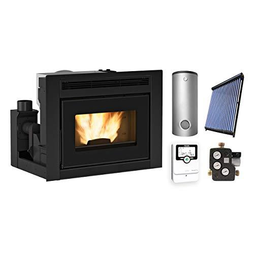 Extraflame KS2900 Comfort Idro L80 Wasserführender Pellet-Kamineinsatz + Solarthermie-Set 2 (11 m²) + Pufferspeicher TPSR 600 + 1 SWT