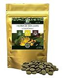 Hierba de San Juan/NAKURU Relax/Polvo orgánico seco y comprimido en frío/Analizado y acondicionado en Francia /'¡La Caza del Demonio!' (90 Tabletas de 500mg / Peso Neto: 45g / Dorado)
