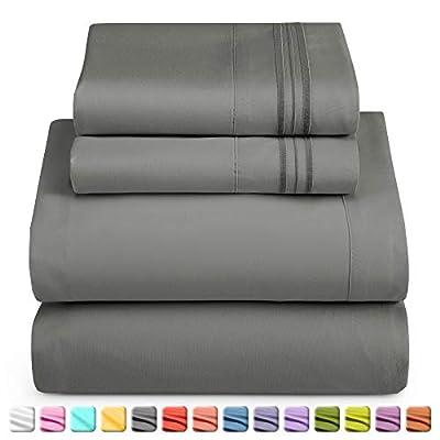 Queen Sheet Set - Sheet Sets For Queen Bed - Deep Pocket Queen Sheet Sets - Soft 1800 Microfiber 4 Piece Bed Sheet Set - Fitted Sheet, Flat Sheet, 2 Pillowcases - Queen Size Bed Sheets - Charcoal Gray