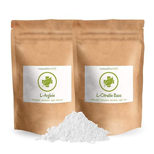 SET-ANGEBOT: L-Arginin Base Pulver 500 g + L-Citrullin Base Pulver 100 g (KEIN MALAT) - in geprüfter Qualität - 100{e95cfd73bba989606ca097bf1073686932b02aee3d5162cc5a0d19065e9aaea3} vegan & rein - glutenfrei, laktosefrei - OHNE Hilfs- u. Zusatzstoffe