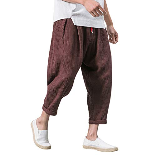 GreatestPAK Herren einfarbig Streetwear Tunnelzug wadenlange Hosen Haremshosen Kurze Hosen,Kaffee,EU:XL(Tag:3XL)