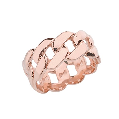 Celtic Rings 14k Gracious Rose Gold 10 mm Unisex Cuban Link Chain Eternity Band Ring (Size 7)