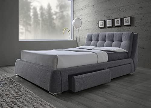 Coaster Home Furnishings Upholstered Bed, California King, Grey/Chrome