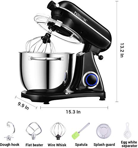 PHISINIC Stand Mixer, 6.5-QT 800W 6-Speed Tilt-Head Food Mixer, Kitchen Electric Mixer with Power Hub for Attachment (Black)
