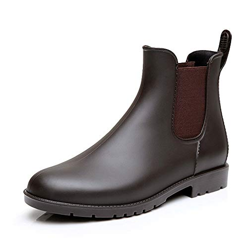 NEOKER Chelsea Gummistiefel Damen Herren Kurz Stiefeletten Regenstiefel Gartenarbeit Blockabsatz Wellington Boots Braun 42