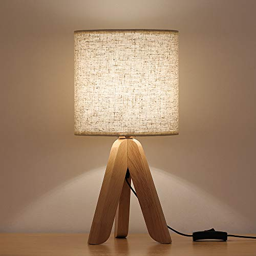 HAITRAL Mini Bedside Table Lamp Creative Wooden Tripod Nightstand Lamp for Bedroom, Living Room, Office, Home Fabric Linen Shade …