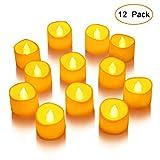 LUNSY Luces en forma de vela Luces de té LED sin llama Juego de luces de vela con pilas Decoración de la boda del partido-12pcs